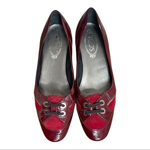 Tod's Women's Burgundy Suede and Patent Leather Flats